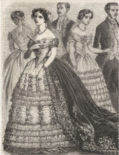 Picture of 1850s evening dress with a bertha neckline