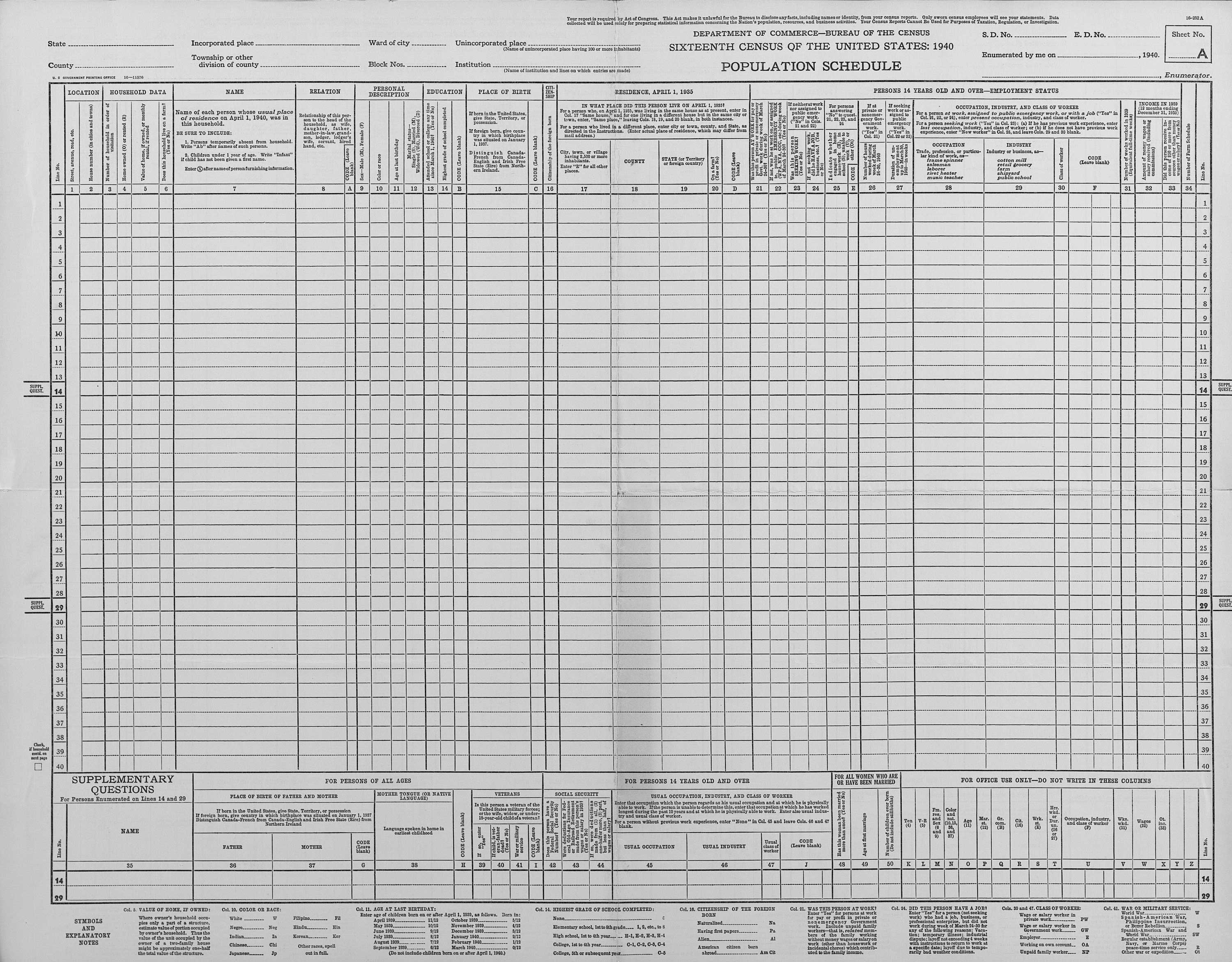 1940 federal census sheet (completed, nyc).