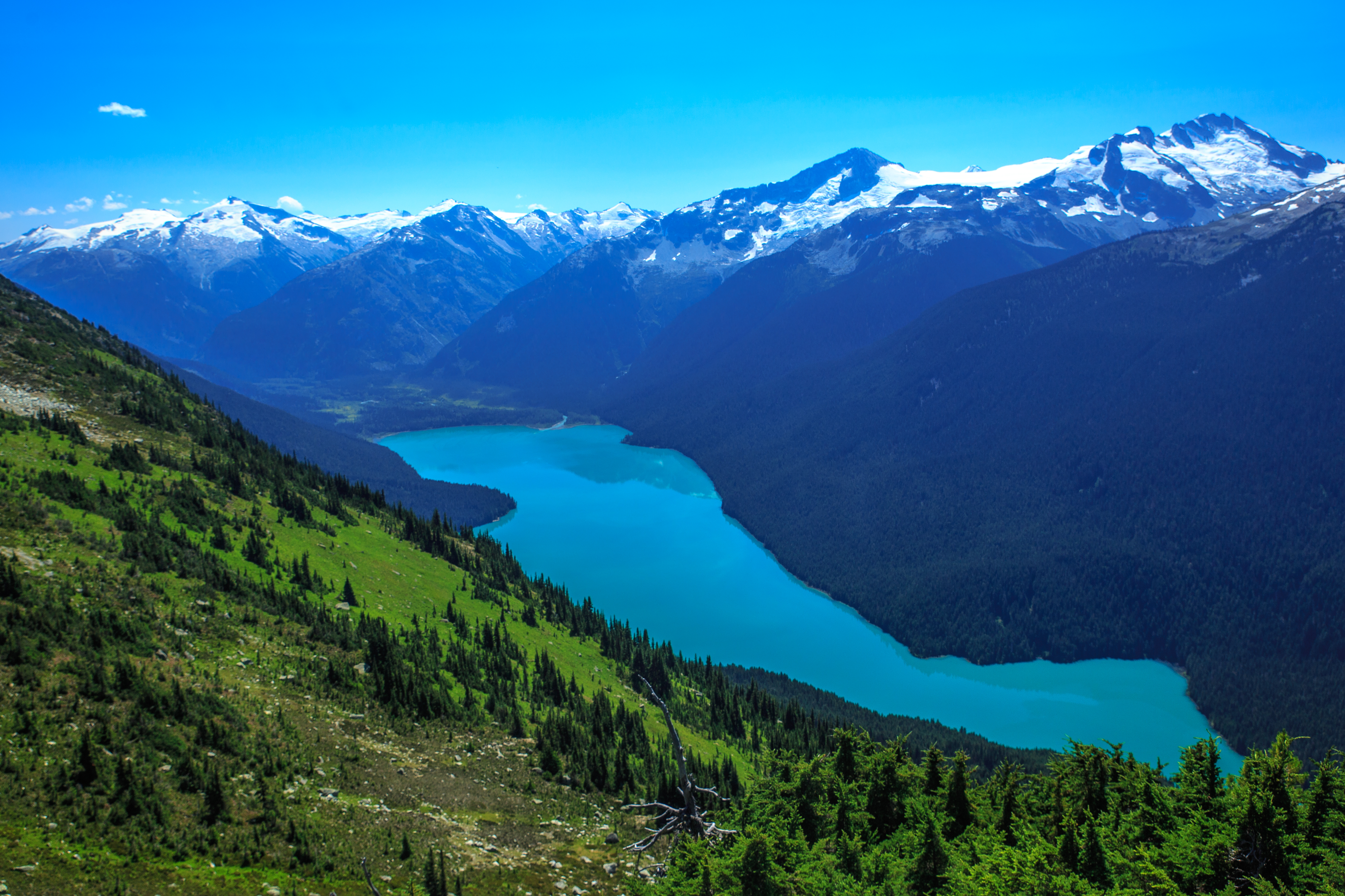File:A day at the top of Whistler Mtn - Cheakamus Lake from the