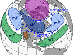 Different air masses which affect North America, as well as other continents, tend to be separated by frontal boundaries. In this illustration, the Arctic front separates Arctic from Polar air masses, while the Polar front separates Polar air from warm air masses. (cA is continental arctic; cP is continental polar; mP is maritime polar; cT is continental tropic; and mT is maritime tropic.)