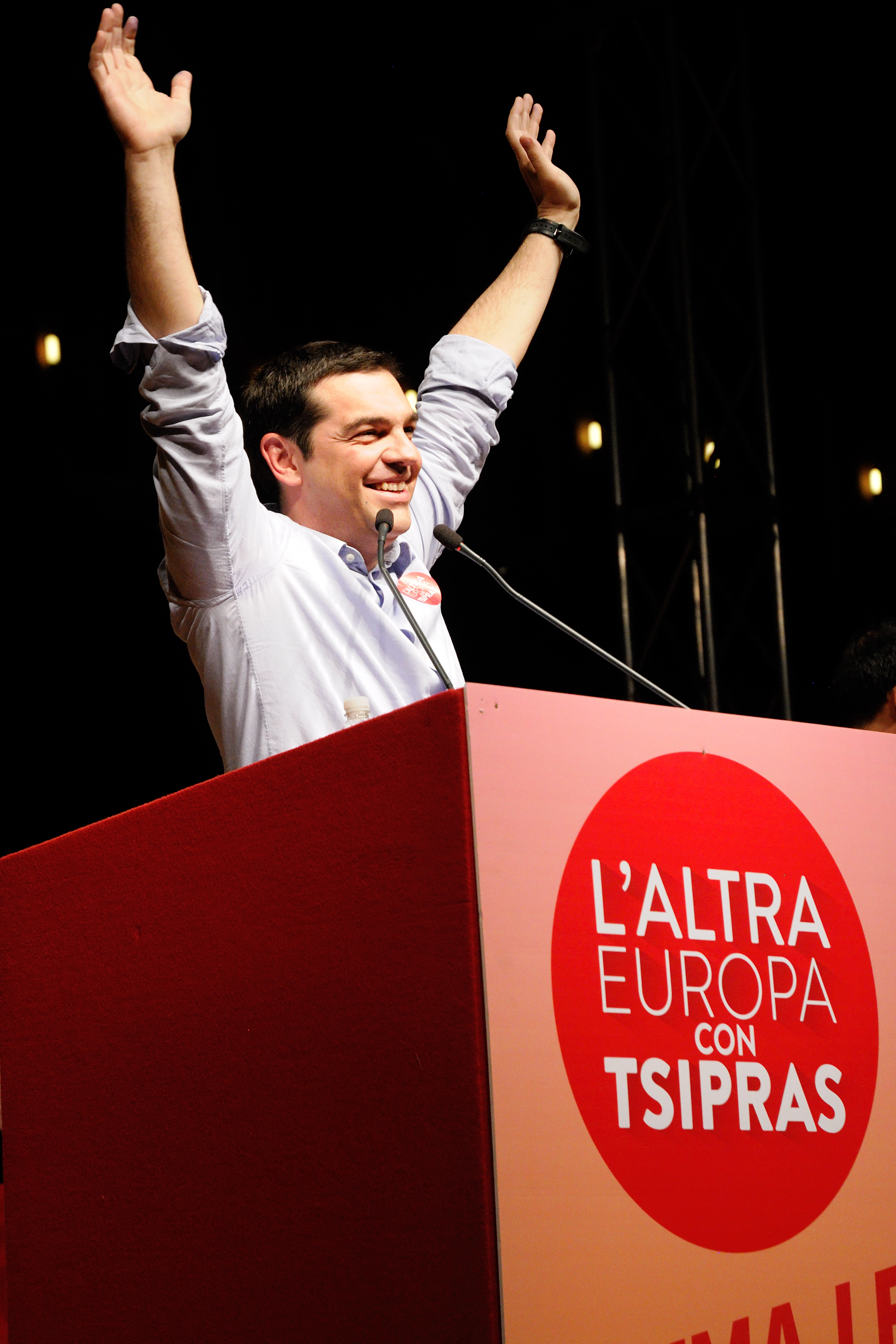 Prime Minister Tsipras at a rally in Bologna.