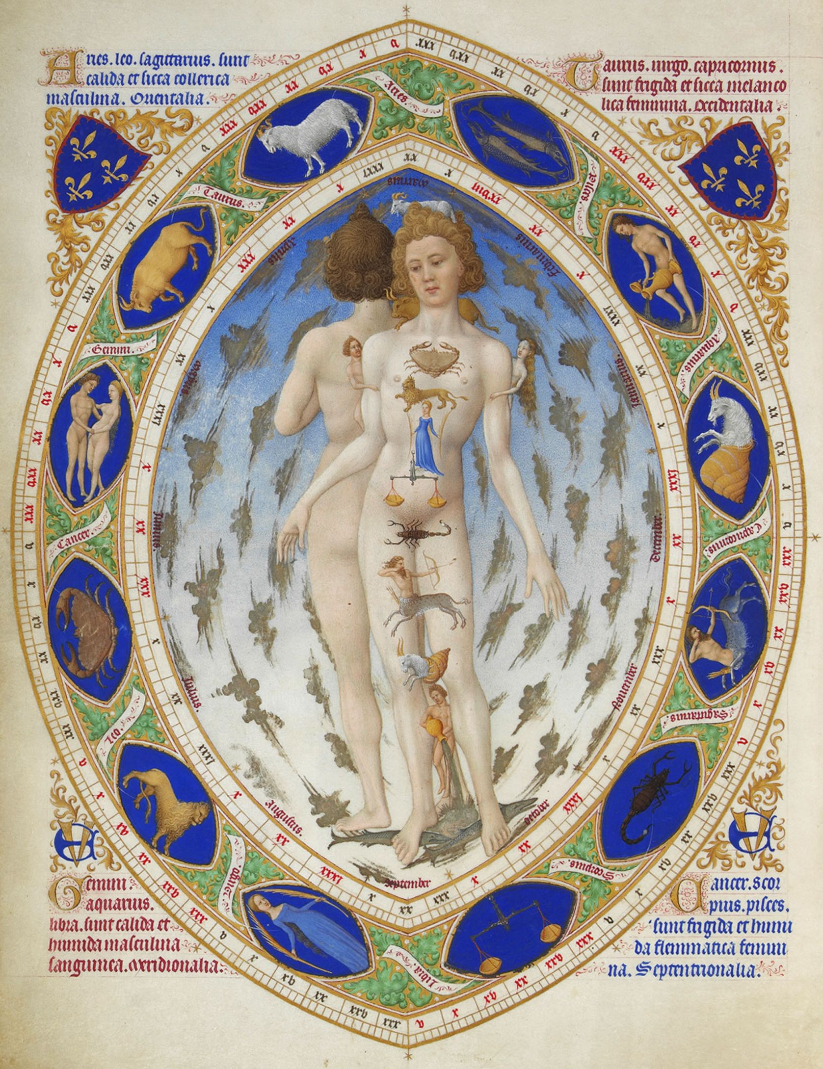 "Illustration from the Book of Hours Duc de Berry of the 15th century, showing the relationship of the Zodiac with the Hippocratic temperaments in accordance with the ""goryachestyu-cold"" and ""wet-dry"" zodiacal constellations."