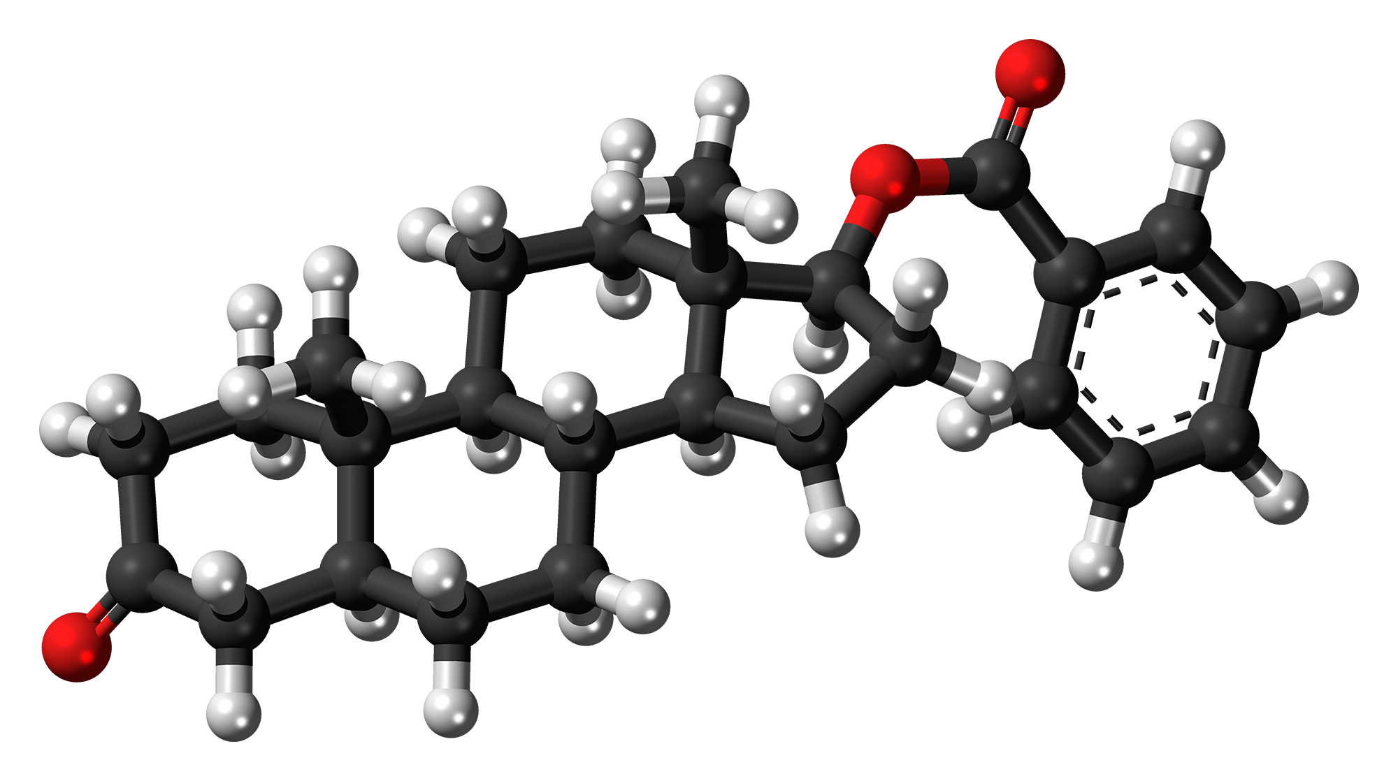 Ball-and-stick model of the androstanolone benzoate molecule, an anabolic-androgenic steroid. Color code:   Carbon, C: black   Hydrogen, H: white