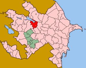 Map of Azerbaijan showing Yevlax rayon