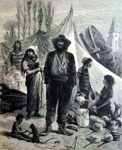 Campamento gitano en una postal francesa del siglo XIX