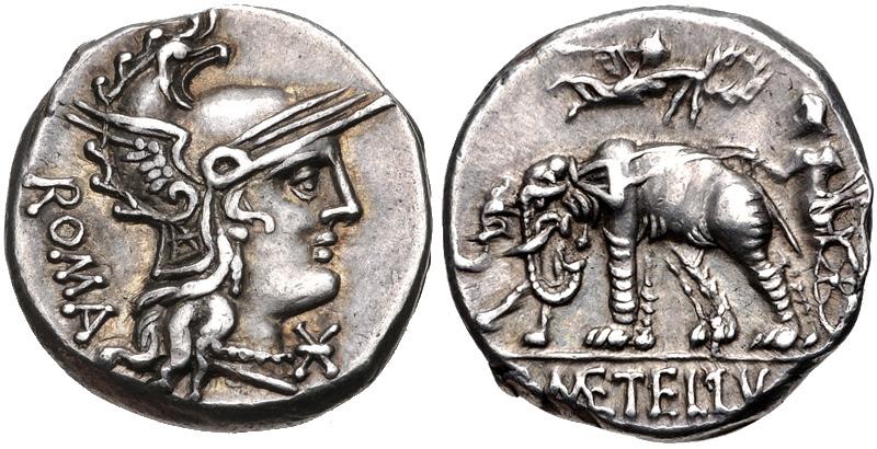 Denario del 125 a.C. Commemorazione battaglia di Panormo. - Elefanti