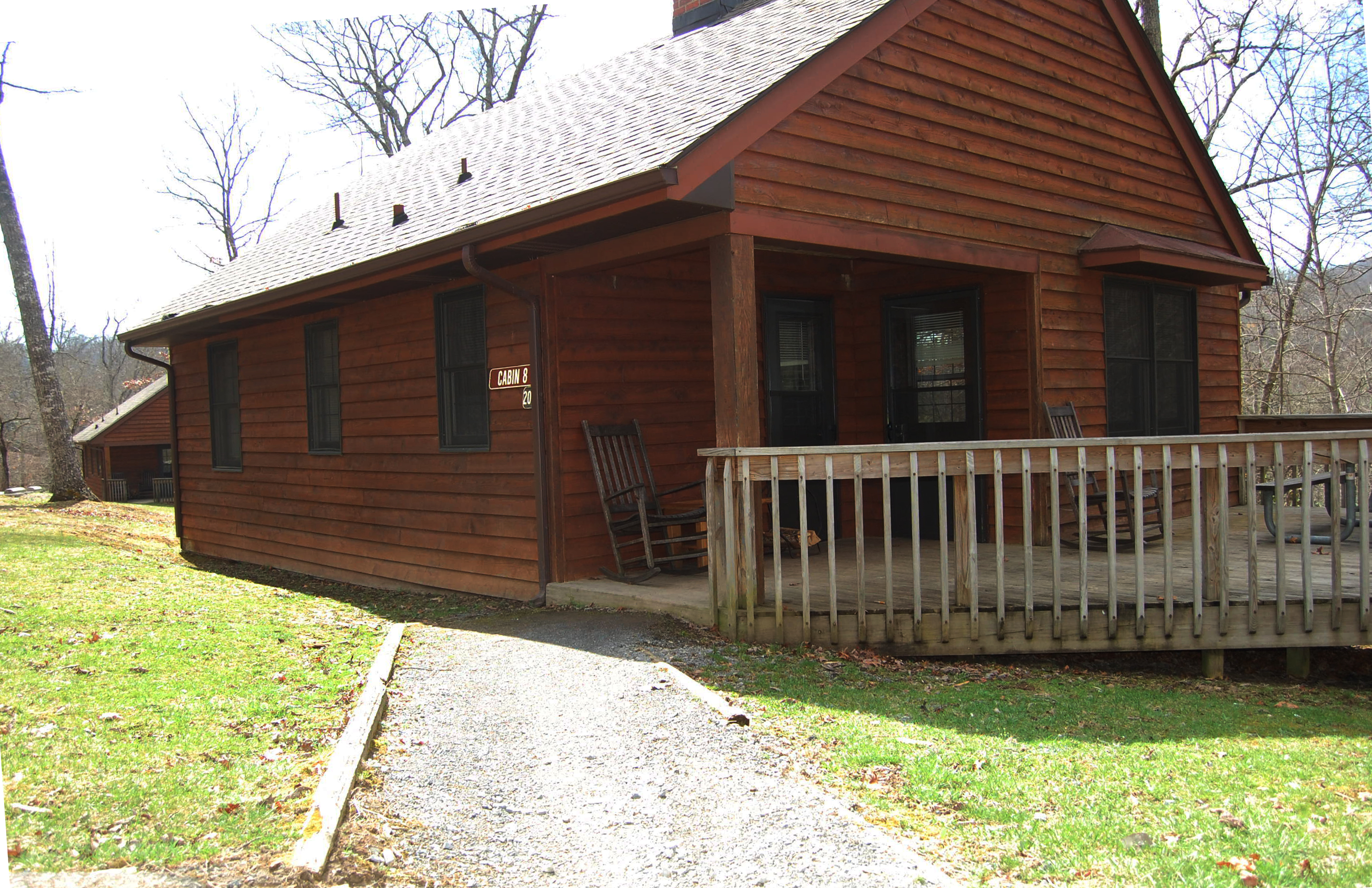 File cabin 8 is a two bedroom cabin with a full kitchen living area and fire place the cabin for 6 bedroom cabins
