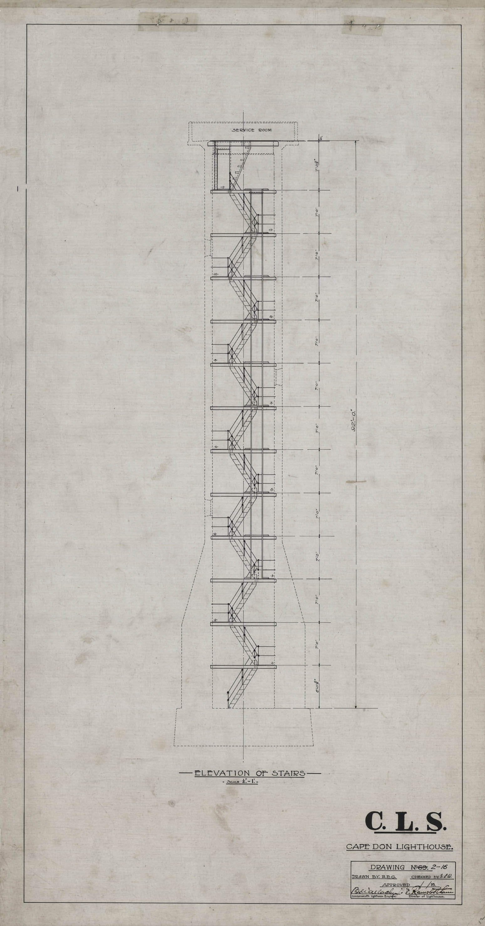 File:Cape Don Light - Plans - Stairs elevation, 1915 jpg - Wikimedia