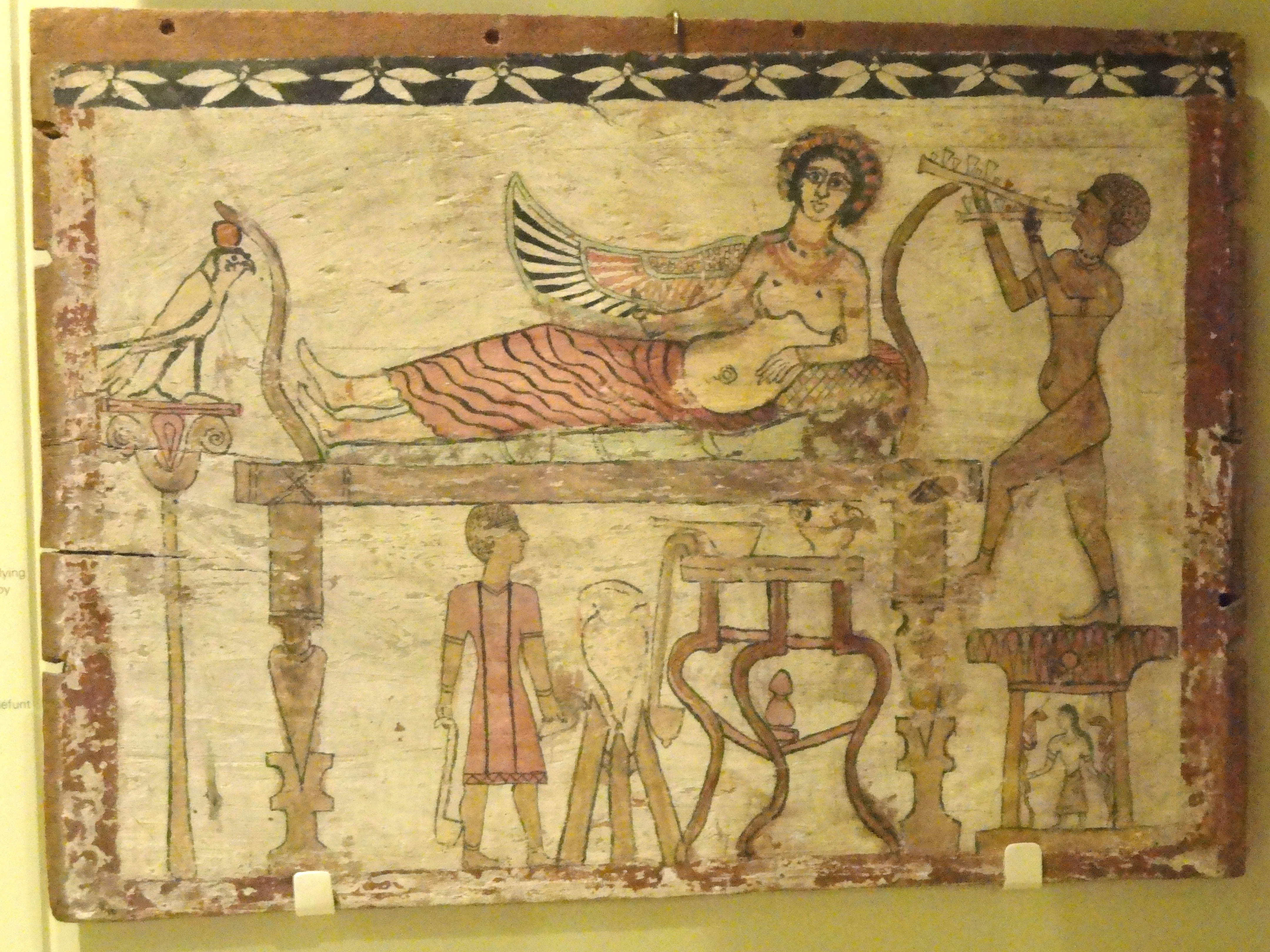 file coffin floorboard depicting isis being served wine by