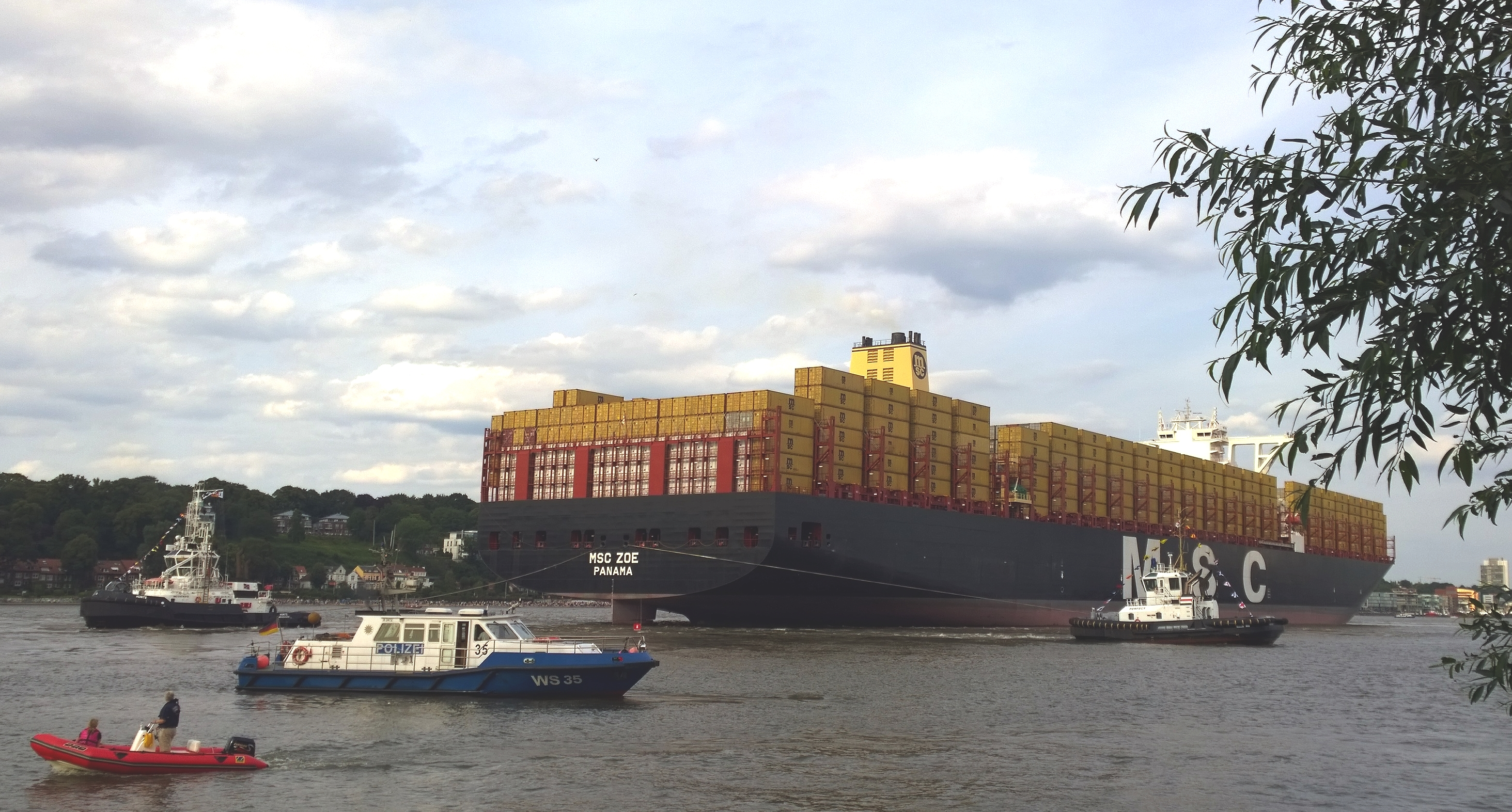 File:Container ship MSC Zoe on the river Elbe in front of