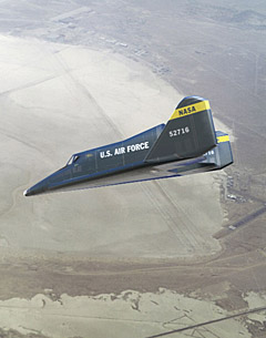 Artist's impression of the X-20 on landing approach at Edwards Air Force Base