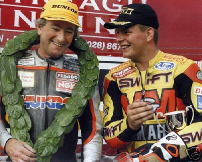 [[Joey Dunlop]] (left) and Jefferies (right).