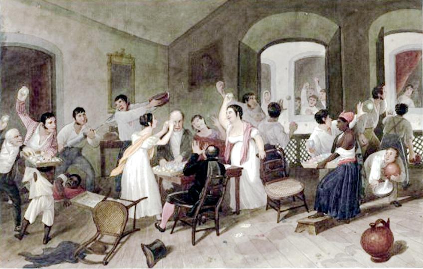 Augustus Earle, c. 1822. Jogos durante o carnaval no Rio de Janeiro (Entrudo familiar). Imagem: Wikimedia Commons