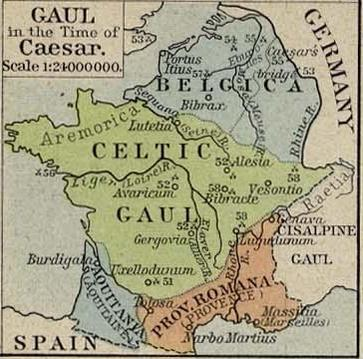 Gallia Narbonensis can be seen in the south of modern-day France as a Roman province. Gaul in the Time of Caesar.jpg