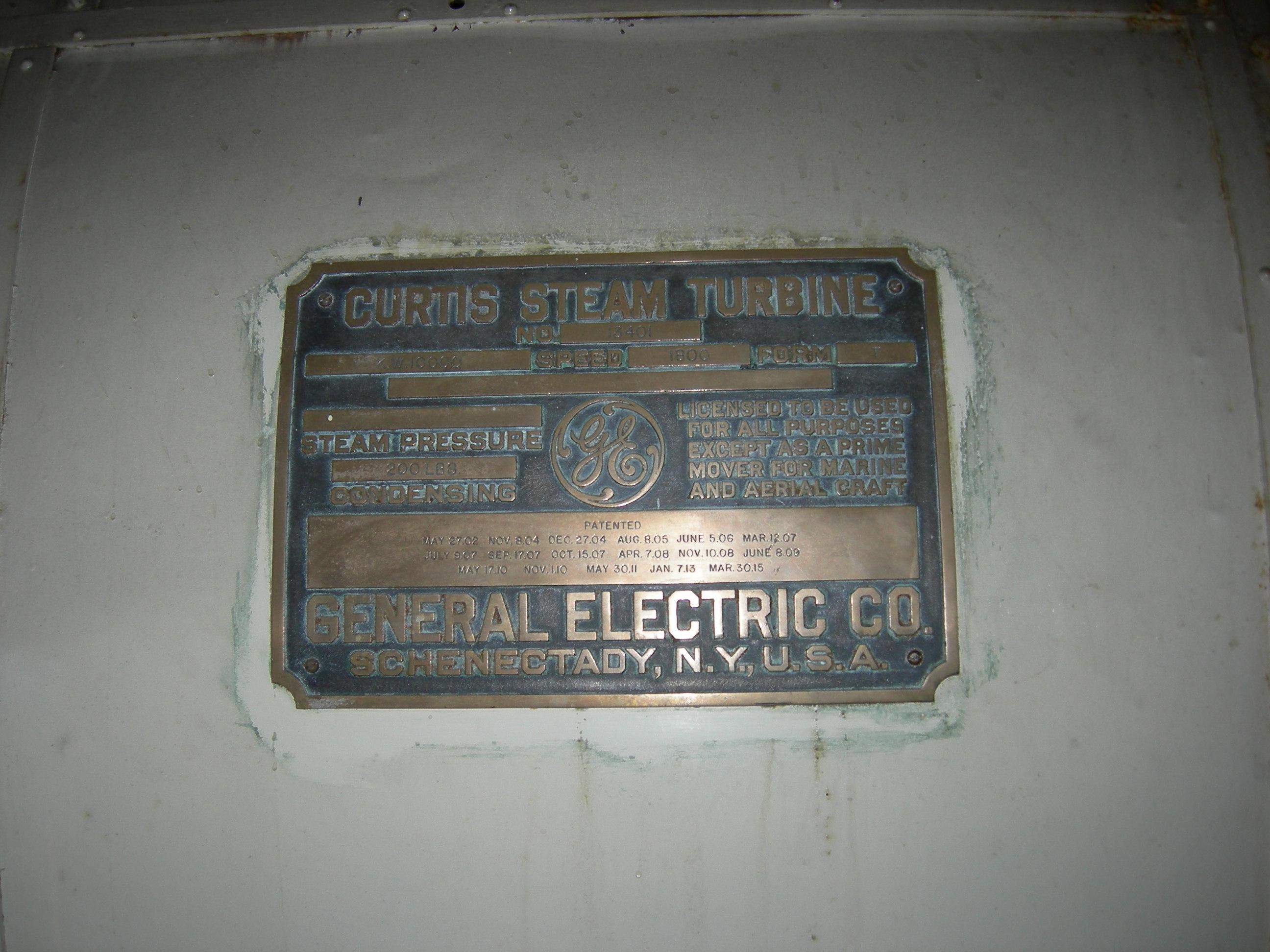 File Geor own PowerPlant Museum GE Curtis Steam Turbine plaque