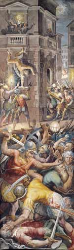 The massacre, with the murder of Gaspard de Coligny above left, as depicted in a fresco by Giorgio Vasari.
