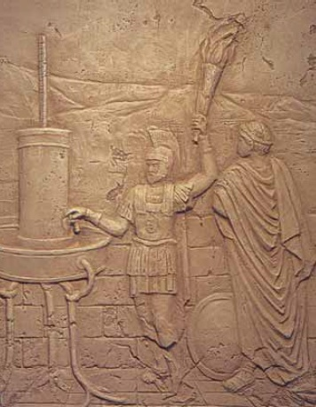 An ancient hydraulic telegraph being used by Aeneas to send a message. Greek Hydraulic Telegraph of Aeneas relief.jpg