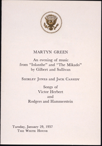 A programme featuring Cassidy and Jones at the White House in 1957