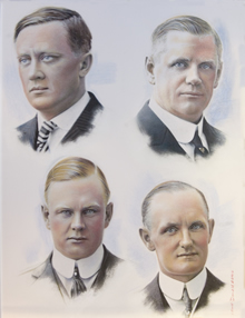 Clockwise from top left: William S. Harley, William A. Davidson, Walter Davidson, Sr., Arthur Davidson