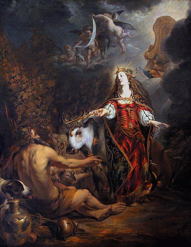 ایزد بانو هرا همراه باگاوی در سمت چپ و طاووسی در سمت راست که از نمادهای او هستند