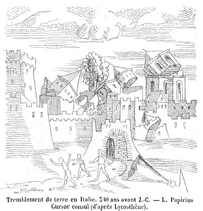 An image from a 1557 book depicting an earthquake in Italy in the 4th century BCE Lycosthene.jpg