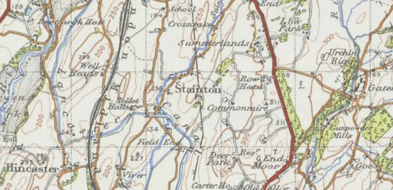 20th century map of Stainton, South Lakeland received from the Vision of Britain Website.