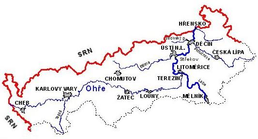 Verlauf der Eger in Nordböhmen
