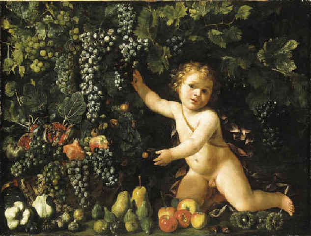 Master of the Acquavella Still Life - Grapes on the vine, pomegranates, grapes, and rosehips in a basket with other fruit by a putto
