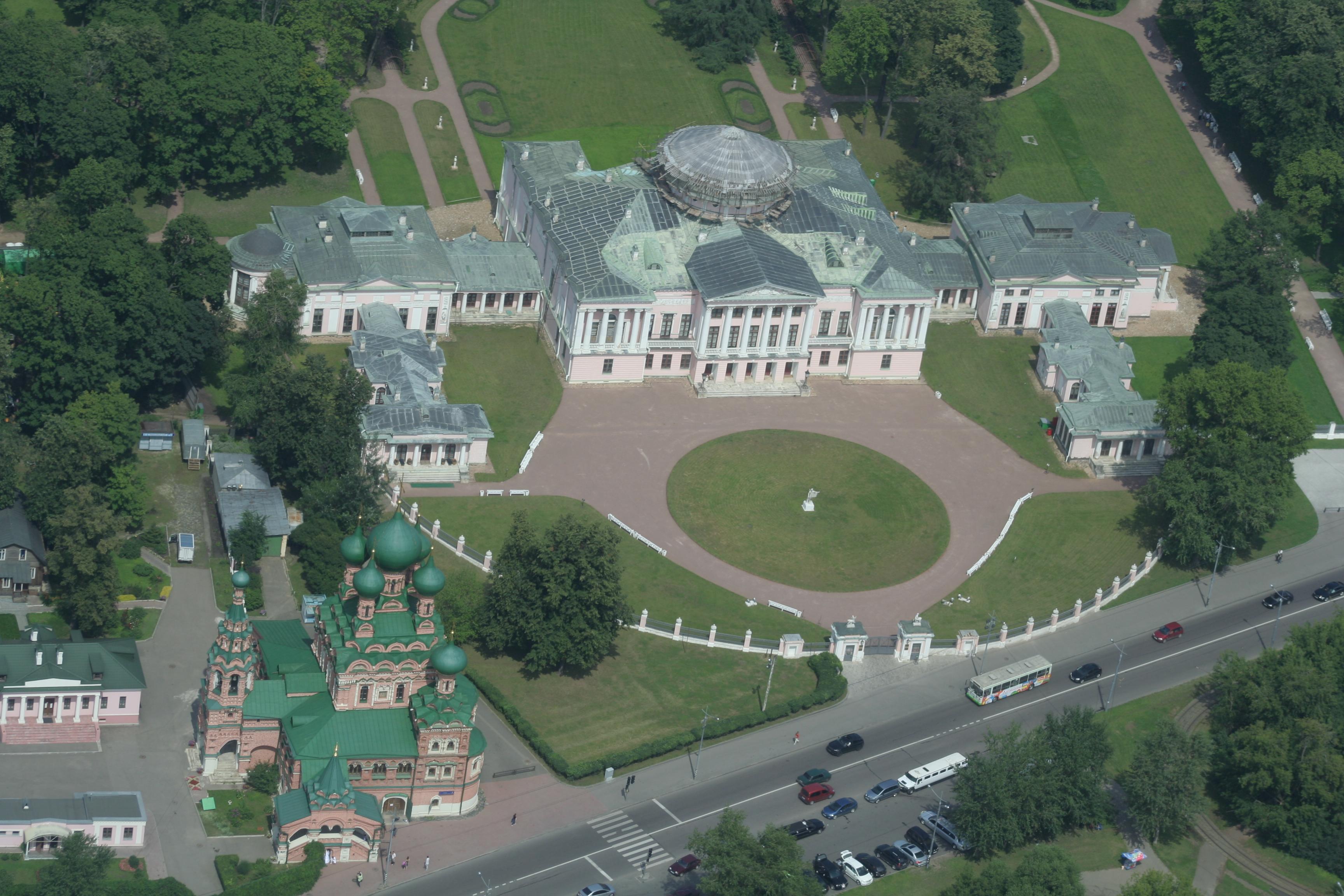 Palácio Ostankino, próximo ao VDNKh, visto da Torre de TV.