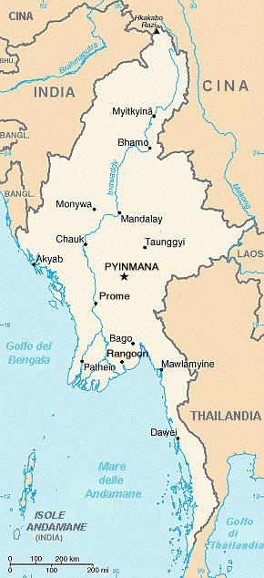 Birmania o Myanmar - Mappa
