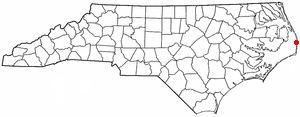 Location of Waves, North Carolina