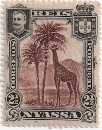 This 2 /2 real value from the 1901 Nyassa Company stamp issue was the first stamp ever printed to feature a giraffe. Nyassa 1901 stamp.jpg