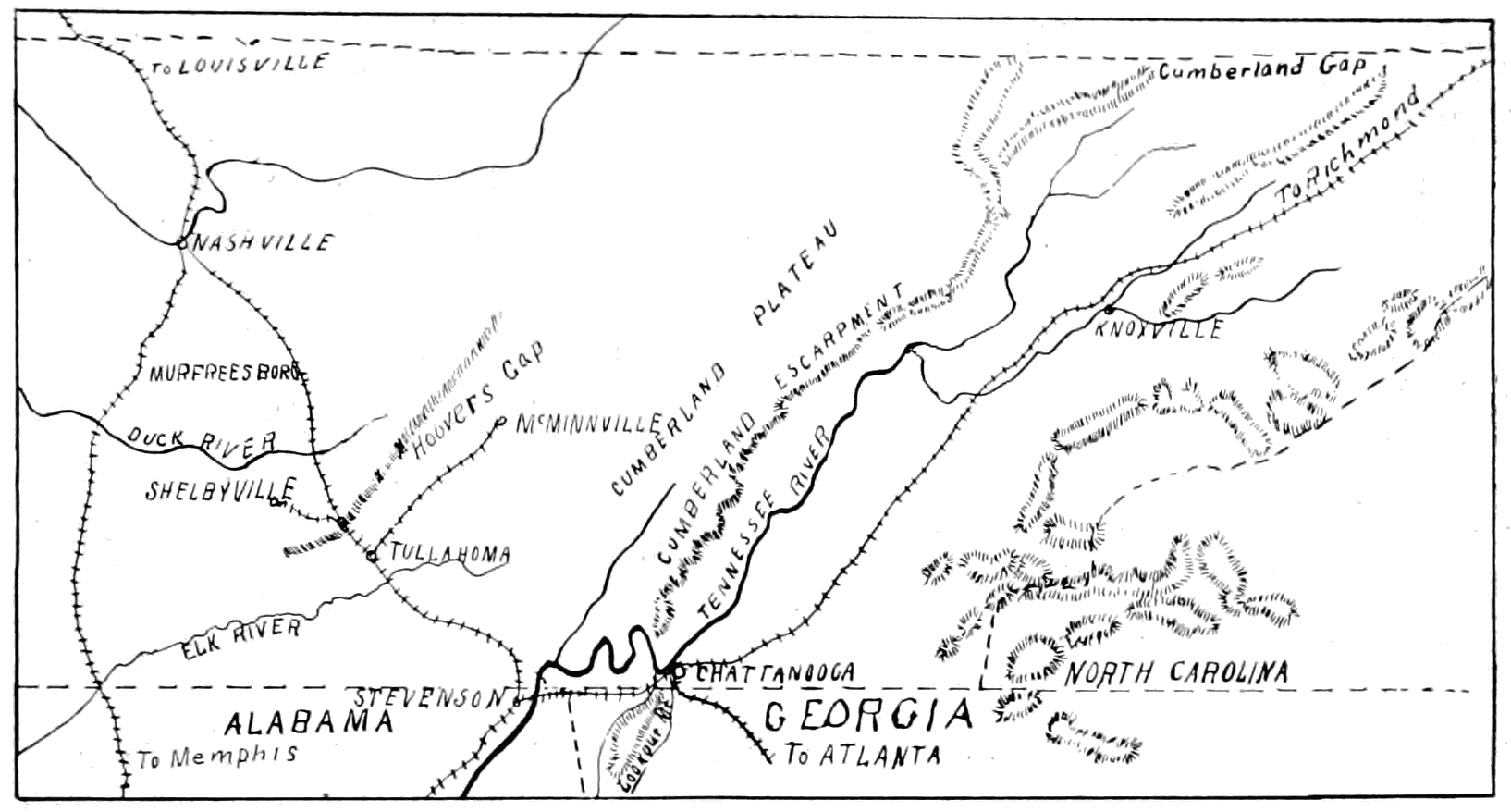 PSM V65 D153 Outline map of the chattanooga campaign region.png
