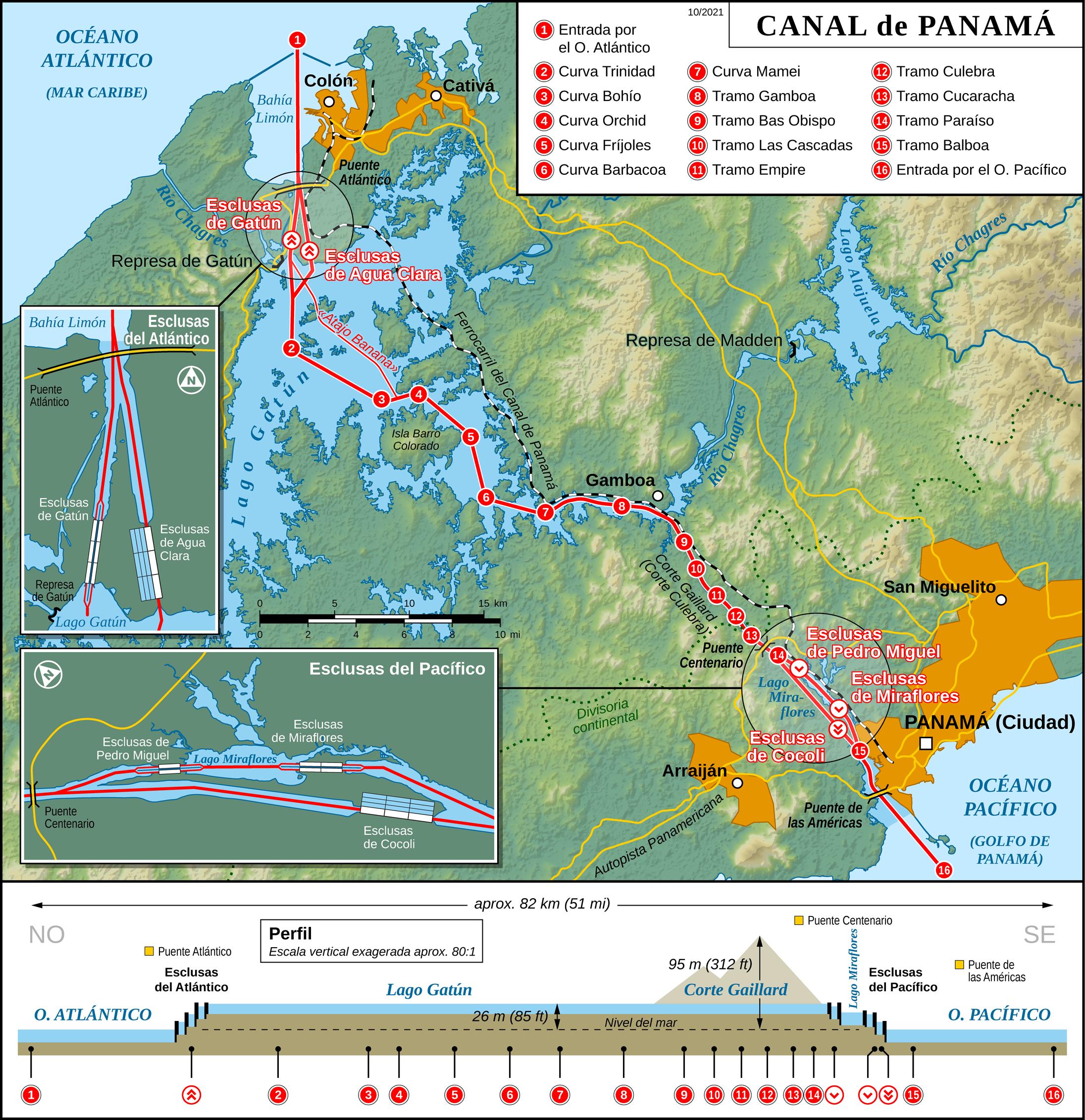 Hispanlingva mapo de la panama kanalo el vikipedio