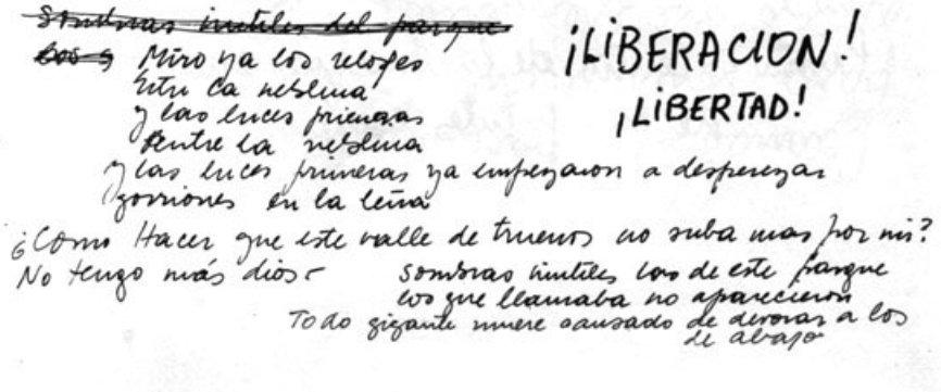 """Fragmento manuscrito por Spinetta de la letra de «Cristálida» tomado del cuadernillo de álbum Pescado 2. Es el último tema del último álbum de Pescado Rabioso. La letra tiene su epicentro cuando dice """"No tengo más Dios"""". En el cuadernillo pide """"Liberación"""", """"Libertad"""" y se pregunta """"¿Qué poder puede abortarme la sed de mi piel?""""."""