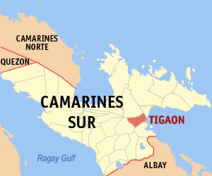 Map of Camarines Sur showing the location of Tigaon
