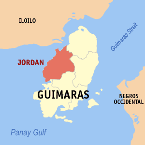 Map of Guimaras showing the location of Jordan