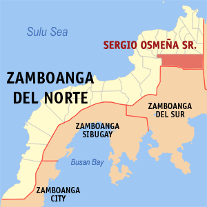 Map of Zamboanga del Norte showing the location of Sergio Osmeña Sr.