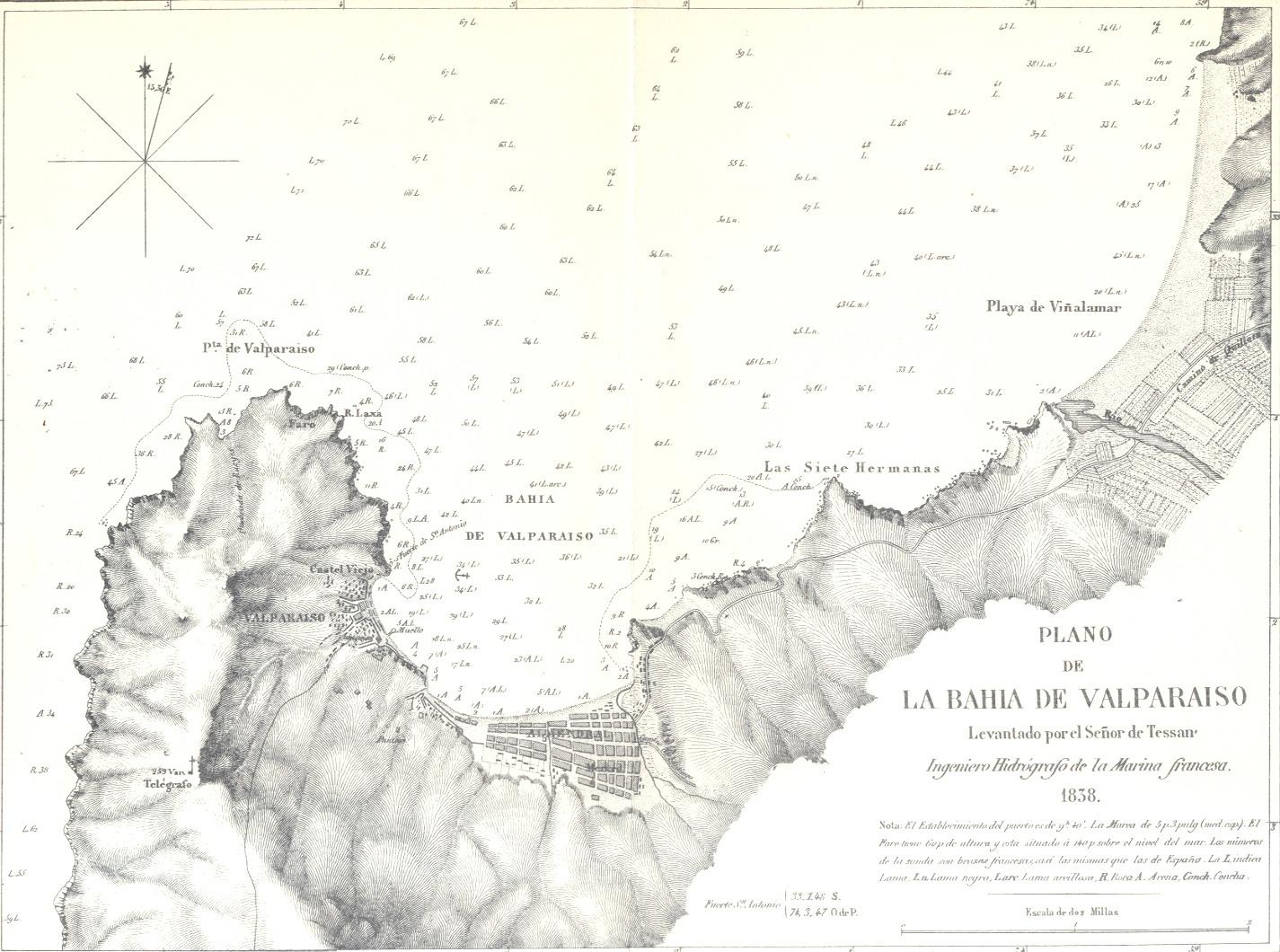 Valparaso Map Baha de Valparaso 1838