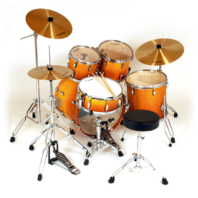 A basic five-piece fusion kit, with one crash cymbal and no effects cymbals, complete with throne (stool) and sticks Platin Drums PTCL2016 AF.jpg
