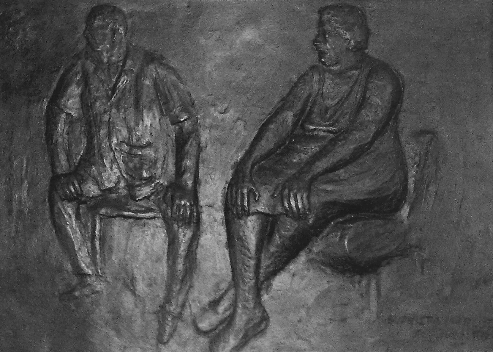 Este é um retrato feito por mim (na minha casa). Esse trabalho foi feito em bronze por meu tio (Don Evaristo Márquez Contreras) em 1986 e é minha propriedade