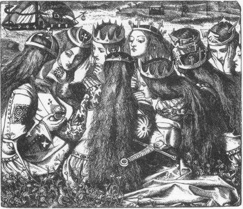 Rossetti King Arthur and the Weeping Queens