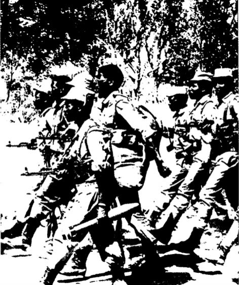 PLAN guerrillas on the march. SWAPO PLAN unit on the march1.JPG