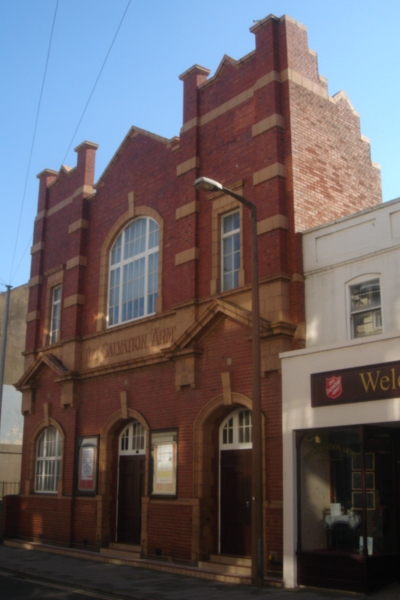 A Salvation Army citadel (Corps) with a charity shop attached, in Worthing, West Sussex. Salvation Army Citadel, Worthing.JPG