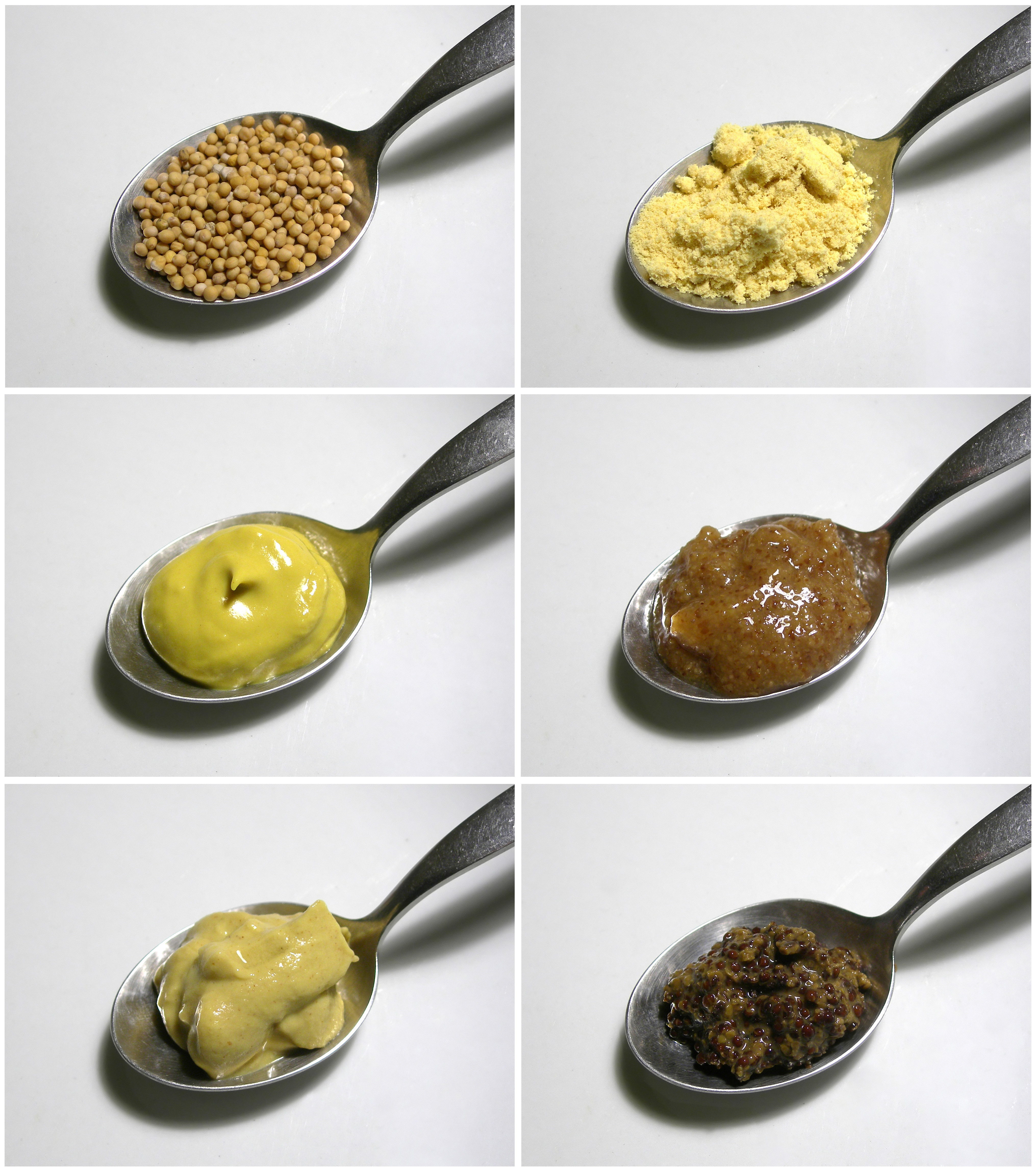 Mustard Seeds (top Left) May Be Ground (top Right) To Make Different Kinds  Of Mustard These Four Mustards Are: A Simple Table Mustard With Turmeric