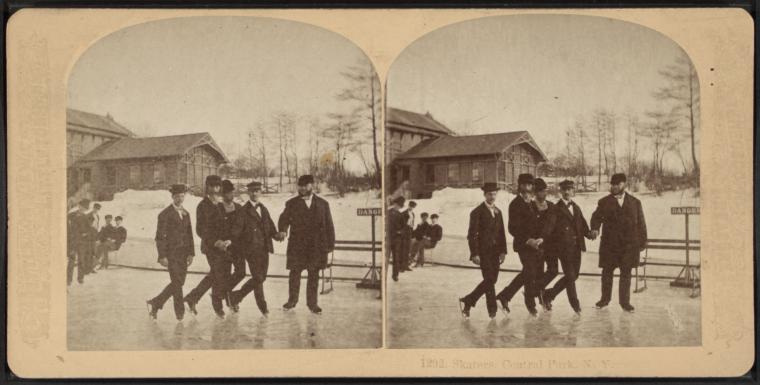 Skaters, Central Park, N.Y, from Robert N. Dennis collection of stereoscopic views
