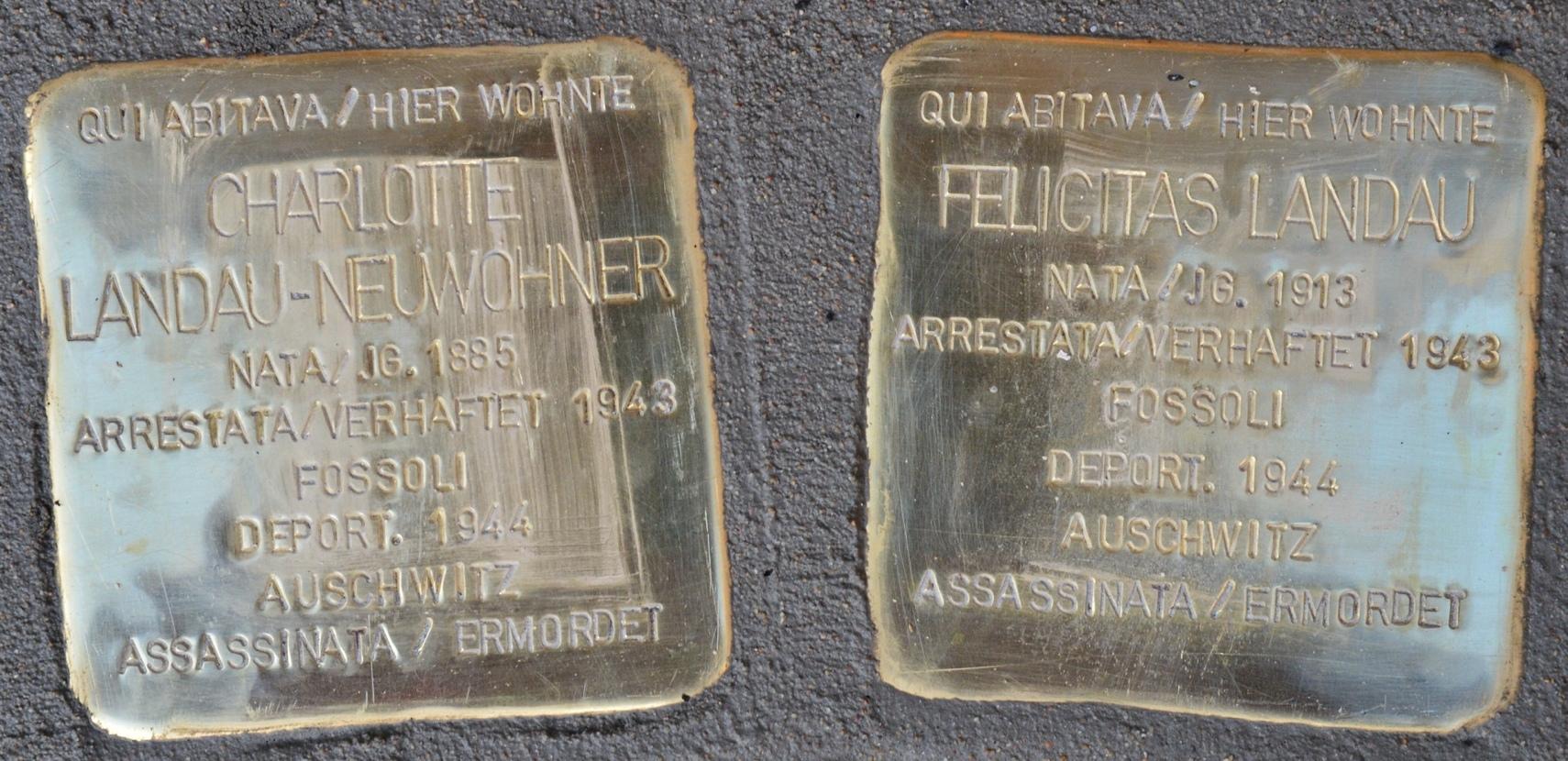 Stolpersteine für Charlotte und Felicitas Landau in Bozen (Südtirol).jpg