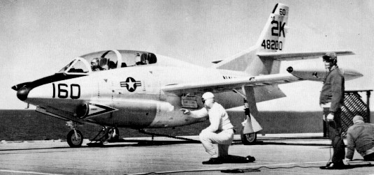 T-2A on USS Antietam catapult c1961.JPG