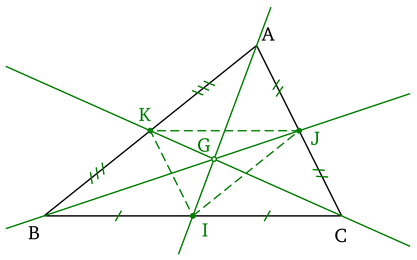 M�dianes et centre de gravit� d'un triangle