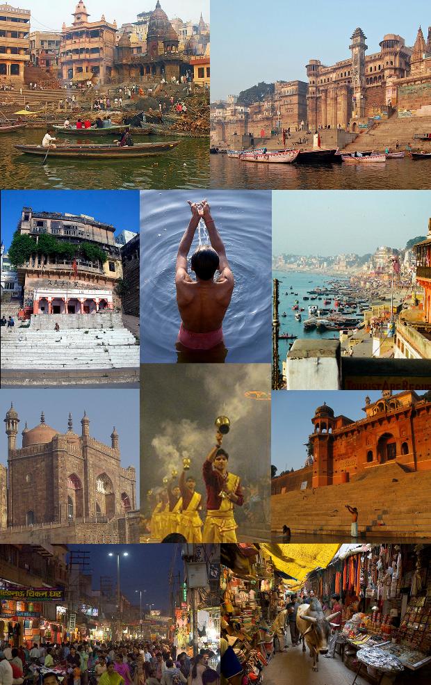 Clockwise from top: Manikarnika Ghat, Dashashwamedha Ghat, Lal Bahadur Shastri International Airport, Tibetan Temple in Sarnath, Banaras Hindu University, Kashi Vishwanath Temple